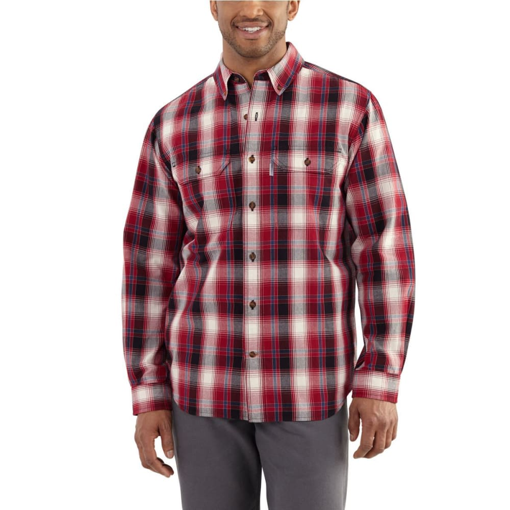 CARHARTT Men's Fort Plaid Long-Sleeve Shirt - 608 CRIMSON
