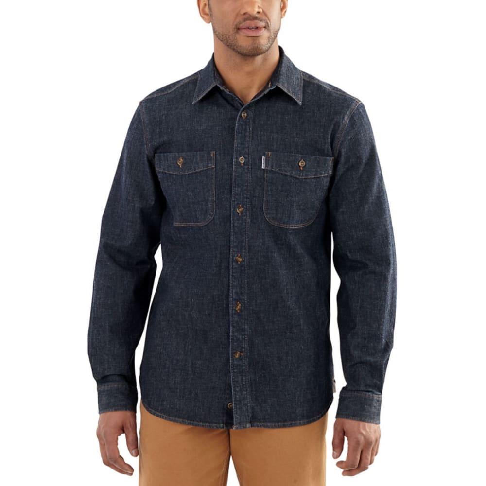CARHARTT Men's Rugged Flex Pattern Denim Shirt - 481 ROTARY RINSE