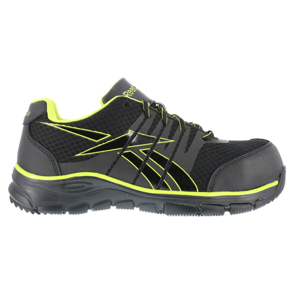 REEBOK WORK Men's Arion Shoes, Wide - BLACK/GREEN TRIM
