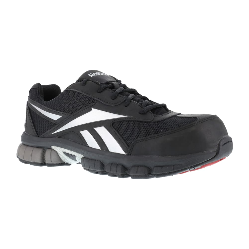 REEBOK WORK Men's Ketia Composite Toe Cross Trainer Shoes, Black/ Silver, Medium Width 12