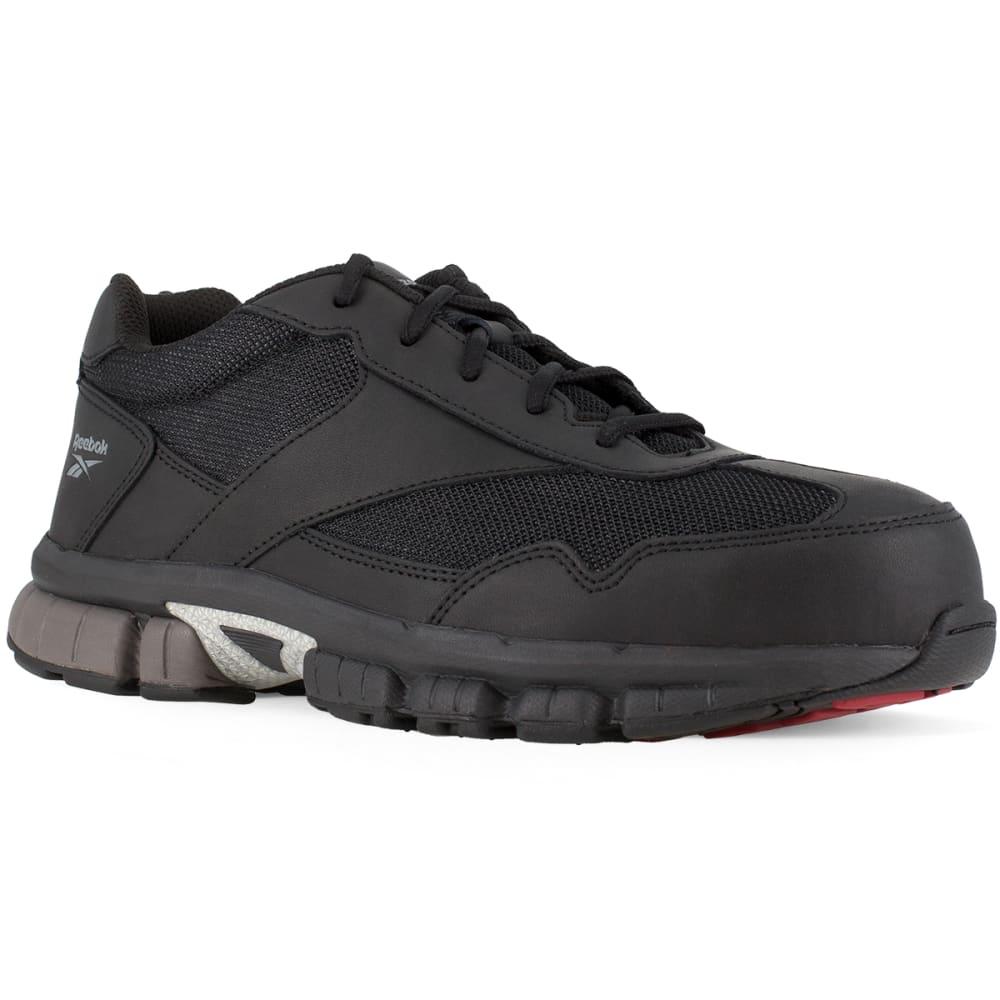 REEBOK WORK Men's Ketia Composite Toe Cross Trainer Shoes, Black/ Silver, Wide 9.5