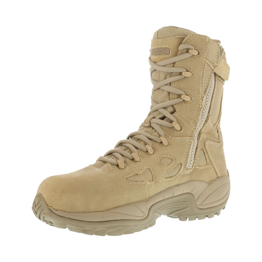 REEBOK WORK Men's Rapid Response 8inch RB Composite Toe Work Boots, Desert Tan, Wide - DESERT TAN