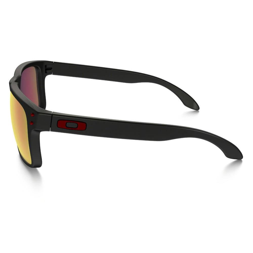 OAKLEY Men's Holbrook Matte Black with Red Iridium Sunglasses - MATTE BLACK/RED
