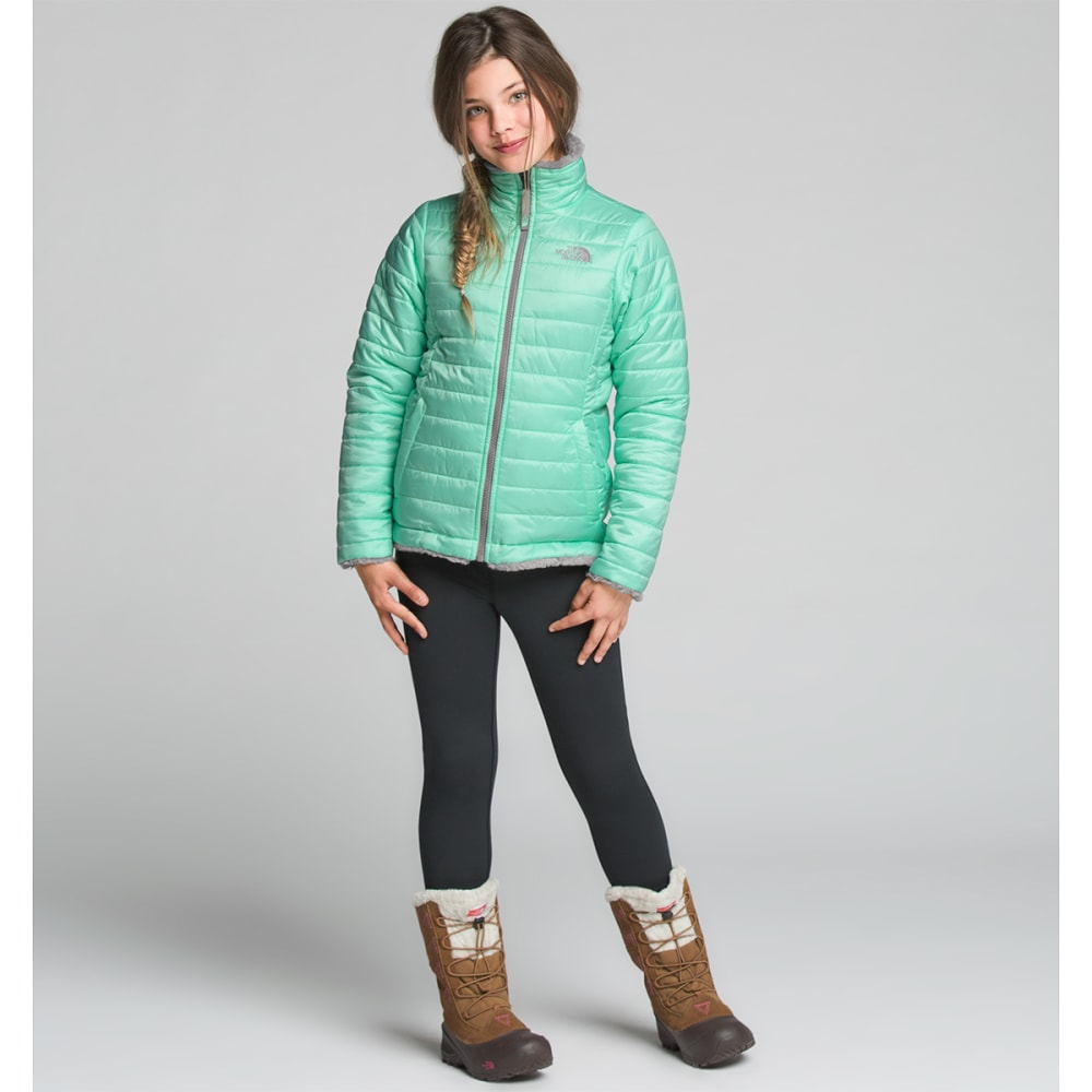 THE NORTH FACE Girls' Reversible Mossbud Swirl Jacket - HCM ICE GREEN
