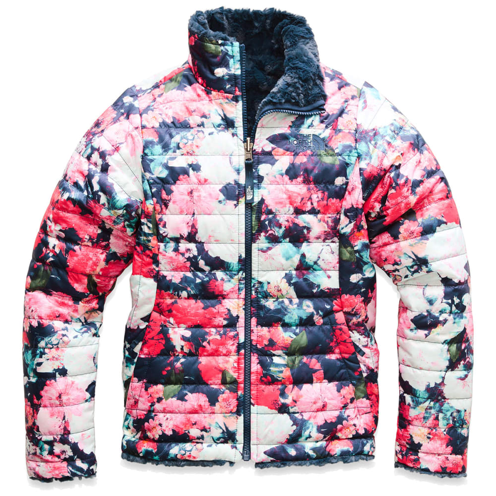 THE NORTH FACE Girls' Reversible Mossbud Swirl Jacket - 5PV-ATOMIC PINK FLOR