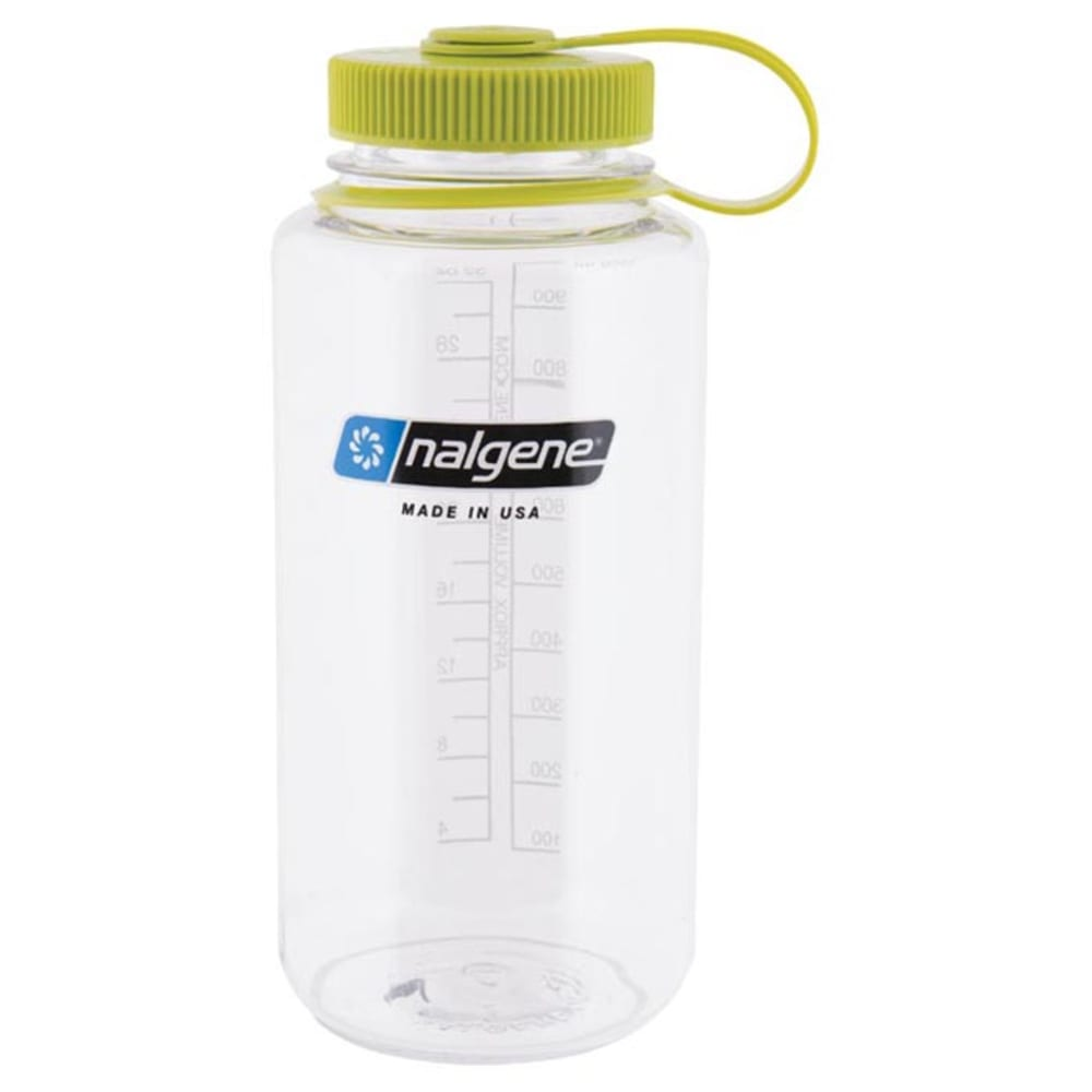NALGENE 32 oz. Wide Mouth Water Bottle - CLEAR/GREEN 341826