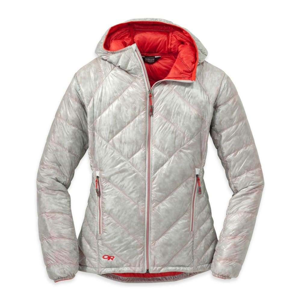 OUTDOOR RESEARCH Women's Filament Hooded Down Jacket - ALLOY/FLAME