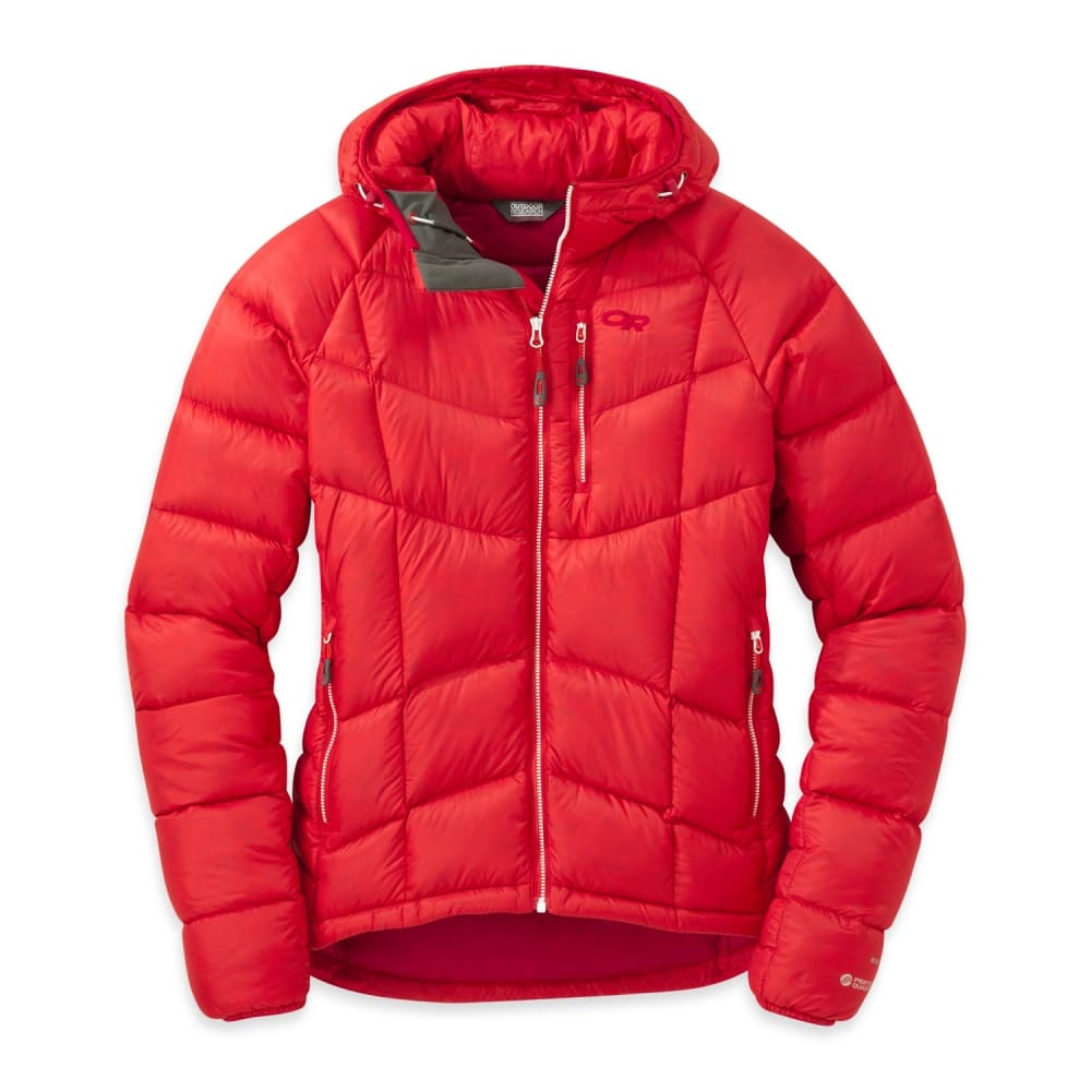 OUTDOOR RESEARCH Women's Sonata Ultra Hooded Down Jacket - FLAME/SCARLET