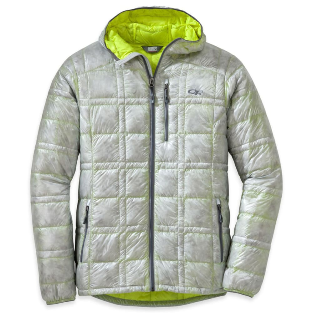 OUTDOOR RESEARCH Men's Filament Hooded Down Jacket - ALLOY/JOLT