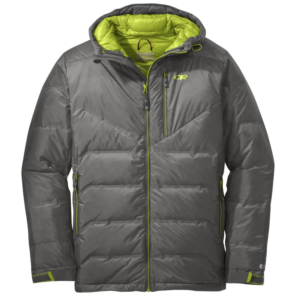 OUTDOOR RESEARCH Men's Floodlight Down Jacket - PEWTER/LEMONGRASS