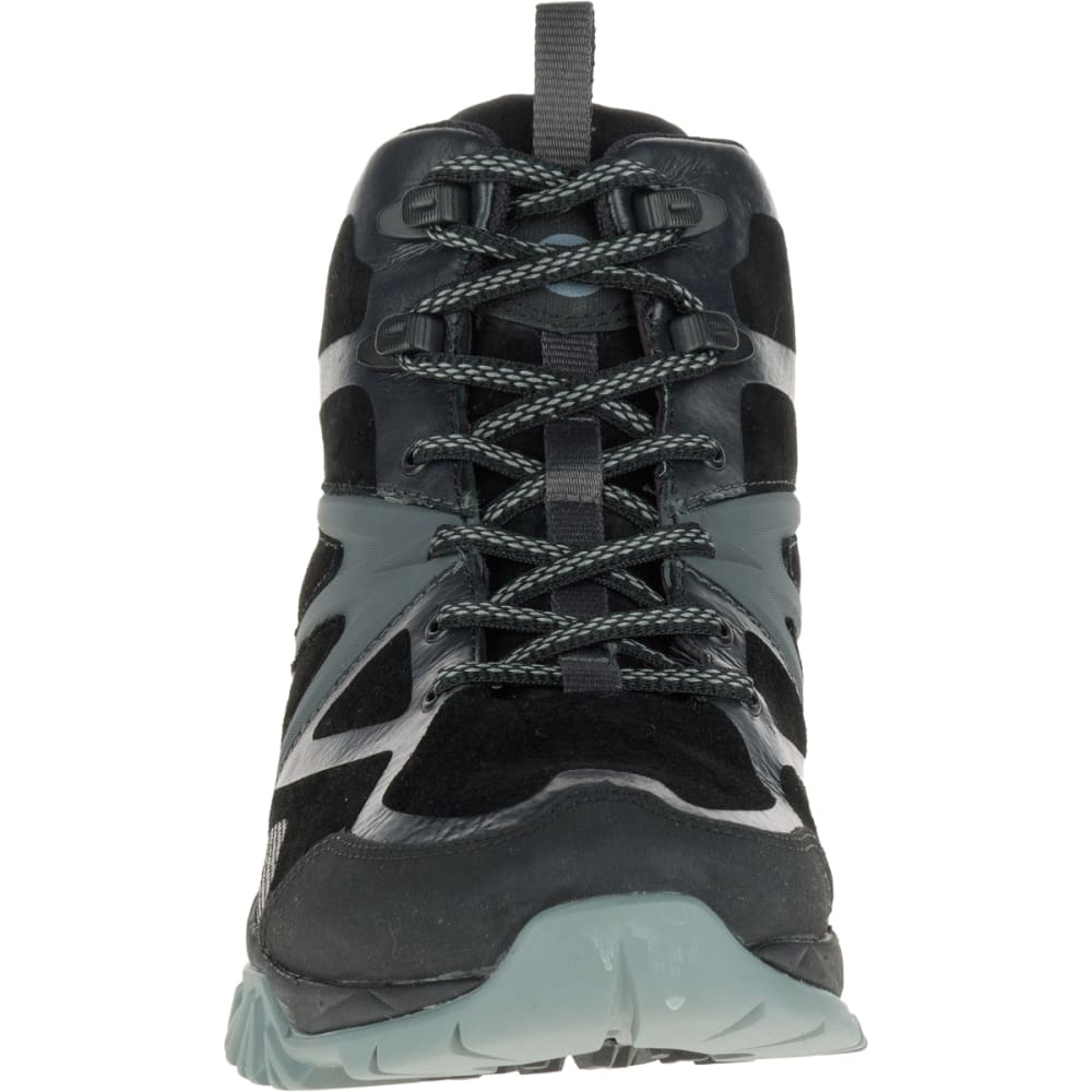 MERRELL Men's Capra Bolt Leather Mid Waterproof Hiking Shoes, Black - BLACK