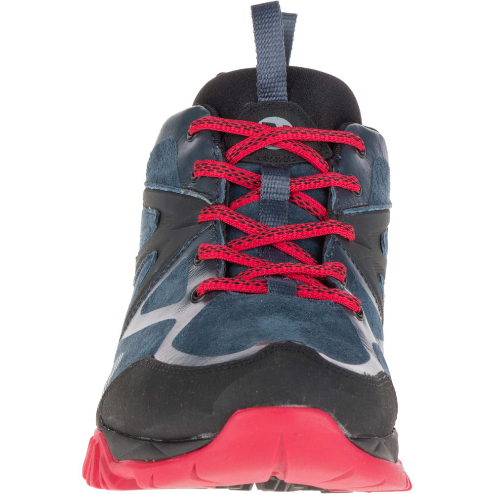 MERRELL Men's Capra Bolt Leather Waterproof Hiking Shoes, Navy - NAVY