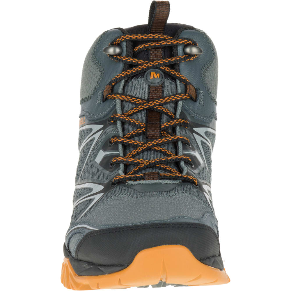 MERRELL Men's Capra Bolt Mid Waterproof Hiking Shoes, Grey/Orange - GREY/ORANGE