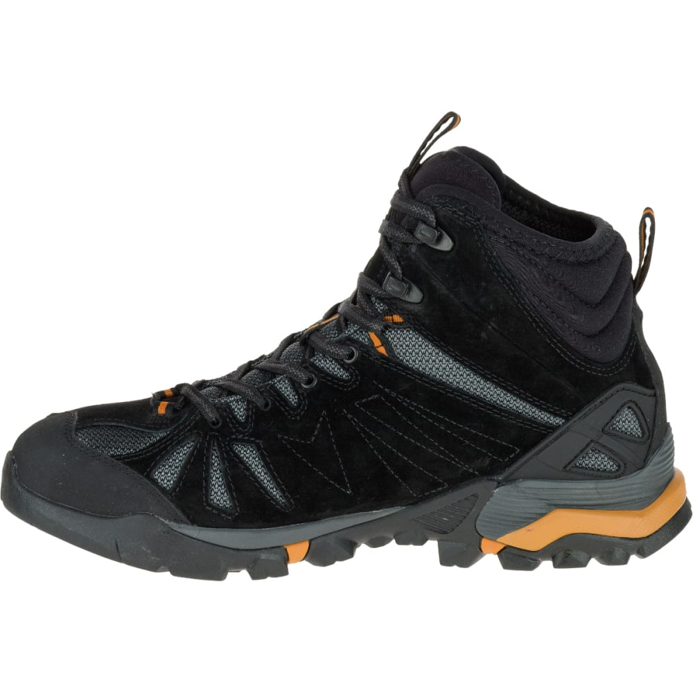 MERRELL Men's Capra Mid Waterproof Hiking Shoes, Black/Orange - BLACK/ORANGE