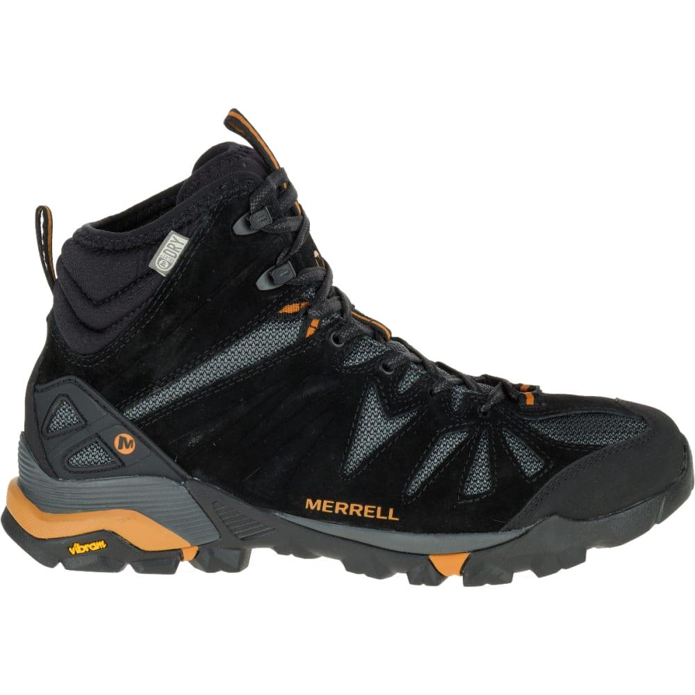 80811fb4bc4 MERRELL Men's Capra Mid Waterproof Hiking Shoes, Black/Orange ...