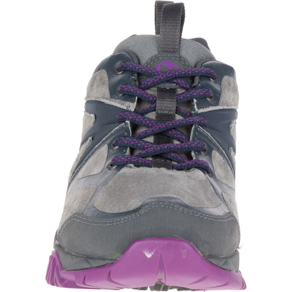 MERRELL Women's Capra Bolt Leather Waterproof Shoe, Grey/Purple - GREY/PURPLE
