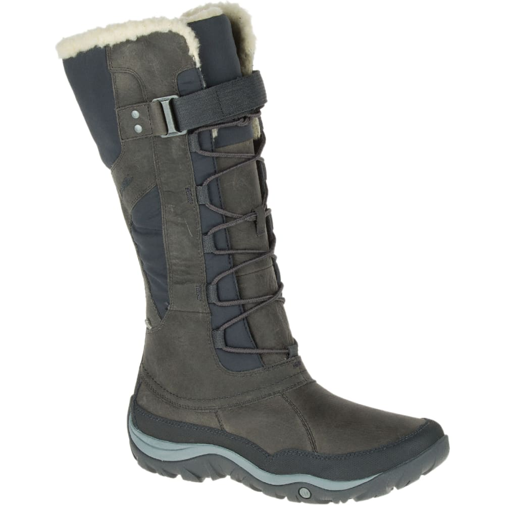 05060fb3b2 MERRELL Women's Murren Tall Waterproof Winter Boots, Pewter ...