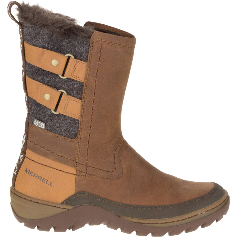 MERRELL Women's Sylva Mid Buckle Waterproof Boot, Merrell Tan - MERRELL TAN