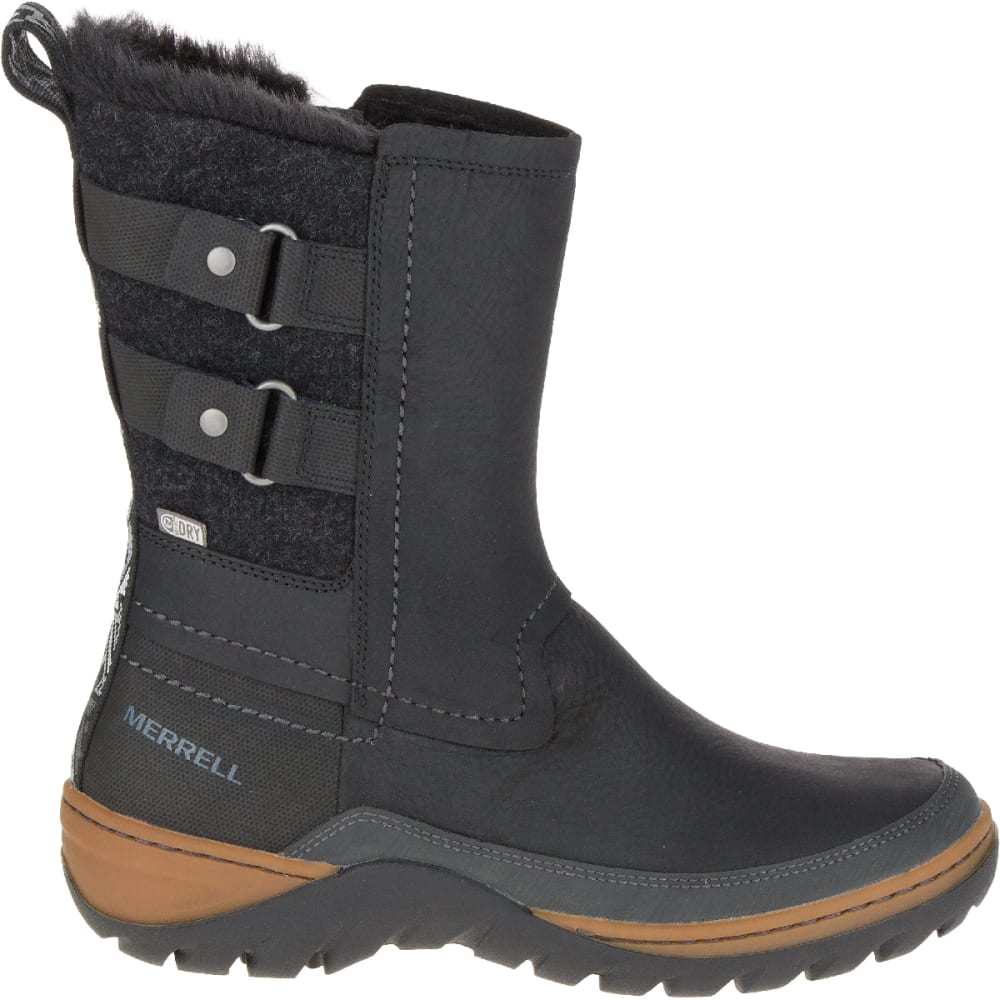 MERRELL Women's Sylva Mid Buckle Waterproof Boot, Black - BLACK
