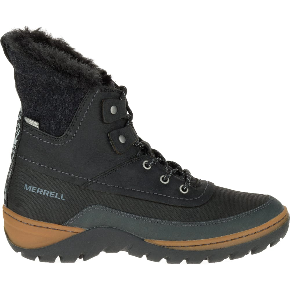 MERRELL Women's Sylva Mid Lace Waterproof Boot, Black - BLACK