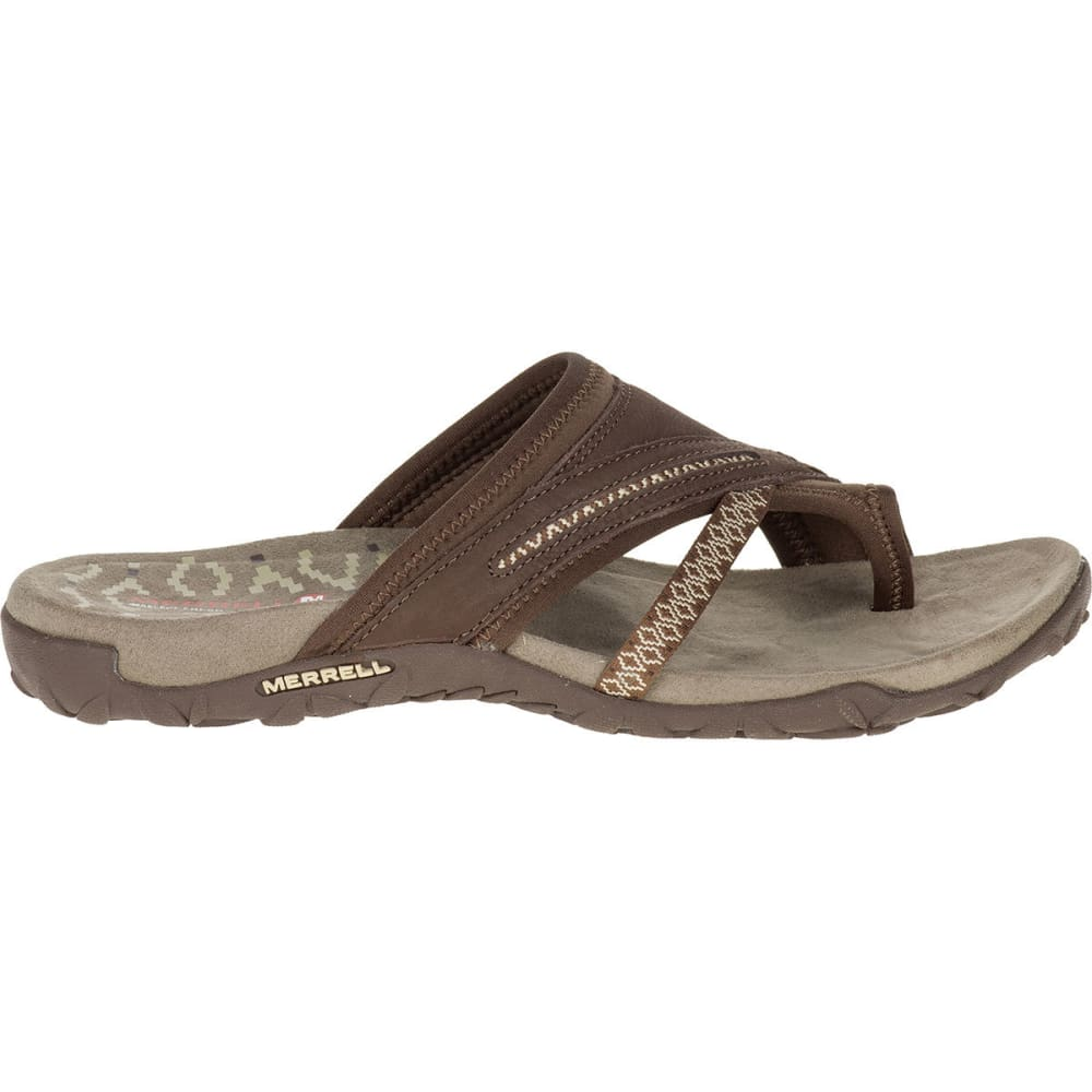 MERRELL Women's Terran Post II Sandals, Dark Earth - DARK EARTH