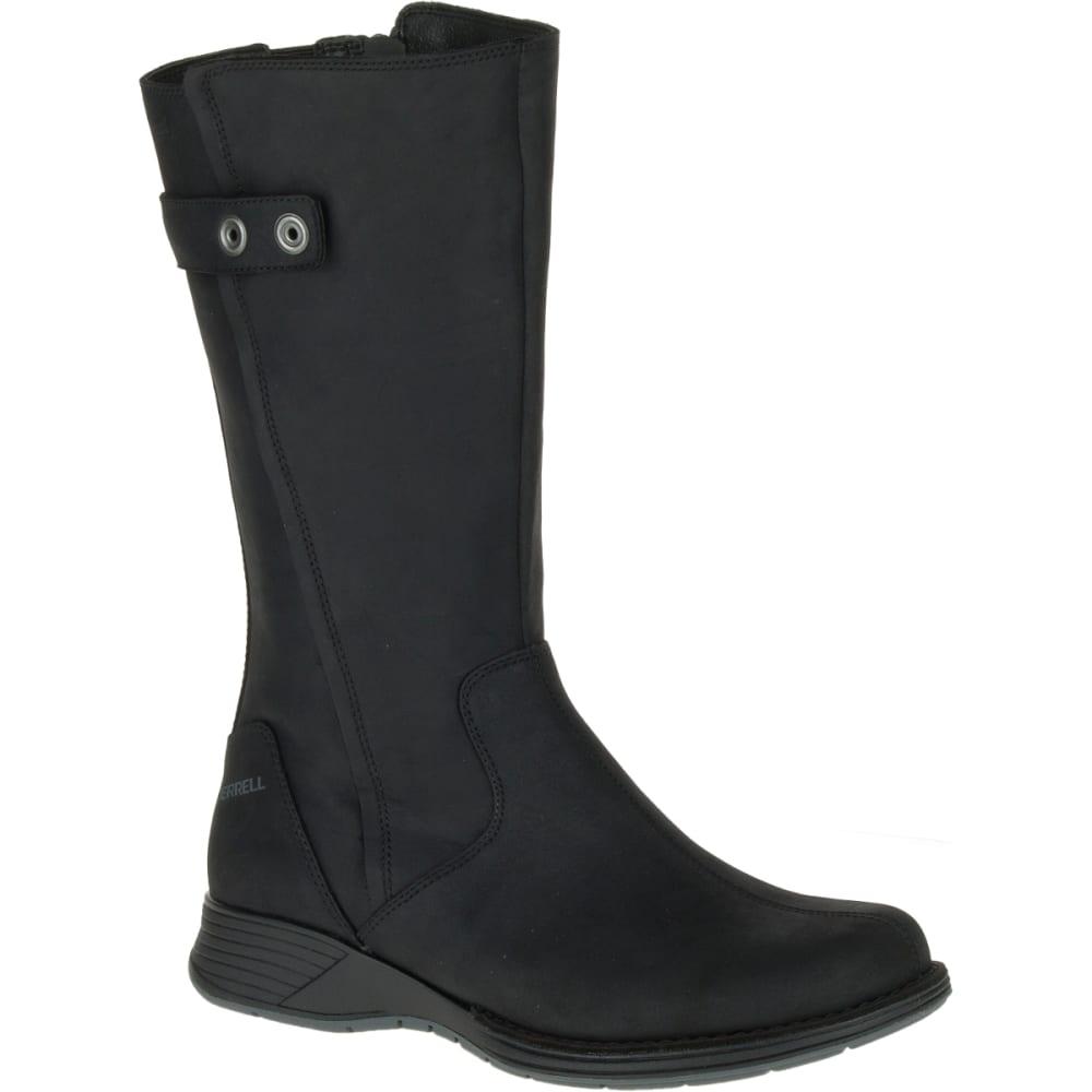 MERRELL Women's Travvy Tall Waterproof Boots, Black - BLACK