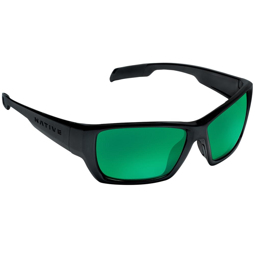 NATIVE EYEWEAR Ward Sunglasses, Asphalt/Green - MATTE BLACK
