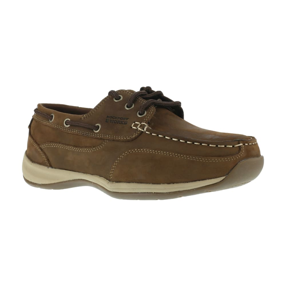 ROCKPORT WORKS Men's Sailing Club Shoes, Wide - BROWN