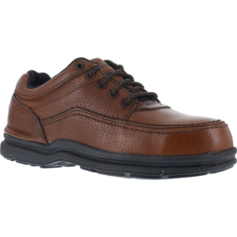 ROCKPORT WORKS Men's World Tour Steel Toe 5 Eye Tie Casual Moc Toe Oxford Shoe - BROWN