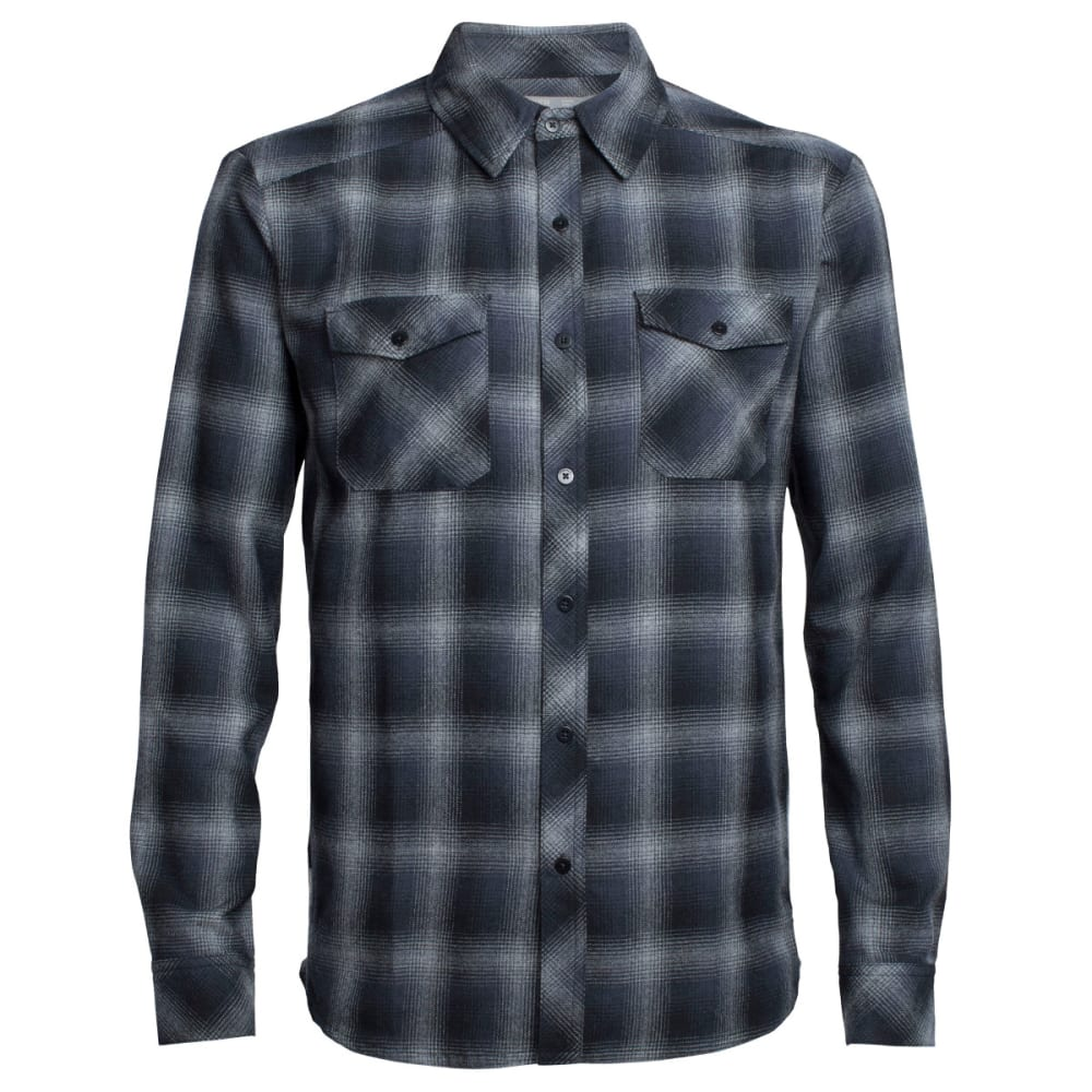 ICEBREAKER Men's Lodge Long-Sleeve Flannel Shirt - M HTHR/STEALTH/BLACK