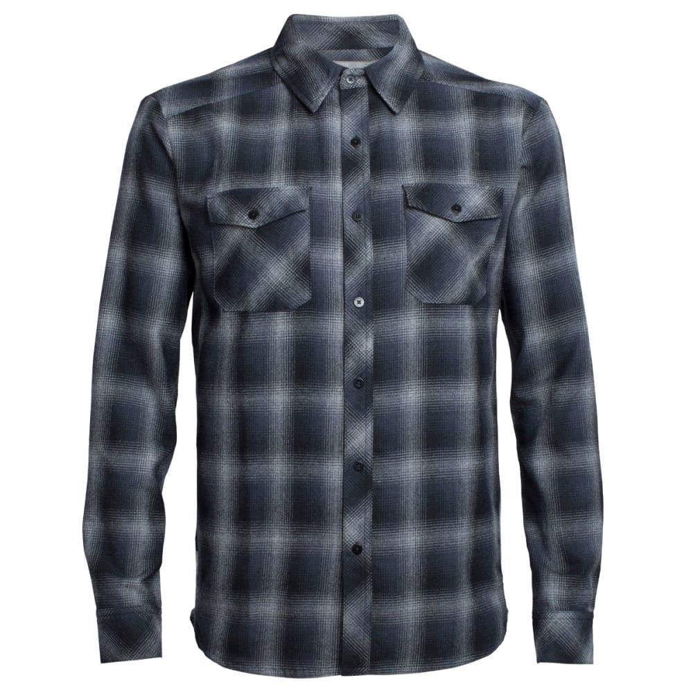 ICEBREAKER Men's Lodge Long Sleeve Flannel Shirt - M HTHR/STEALTH/BLACK