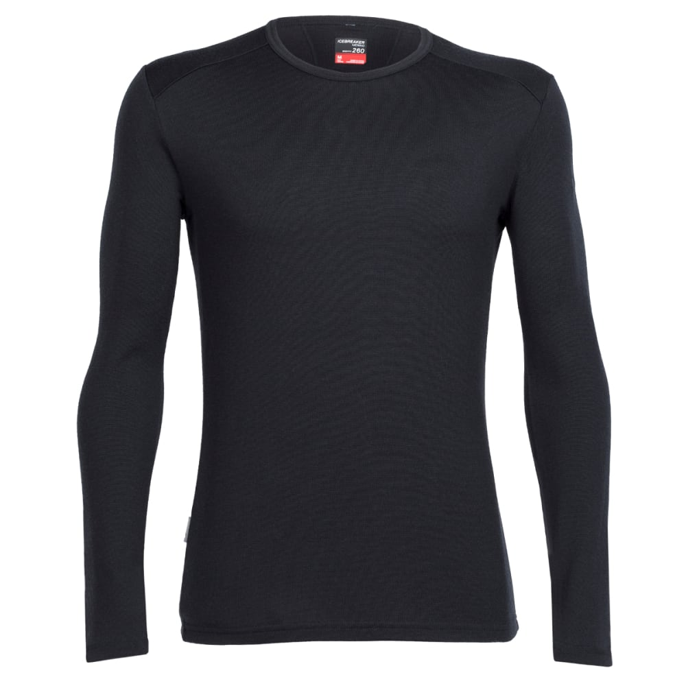 ICEBREAKER Men's Tech Top Long Sleeve Crewe - BLACK/BLACK/BLACK
