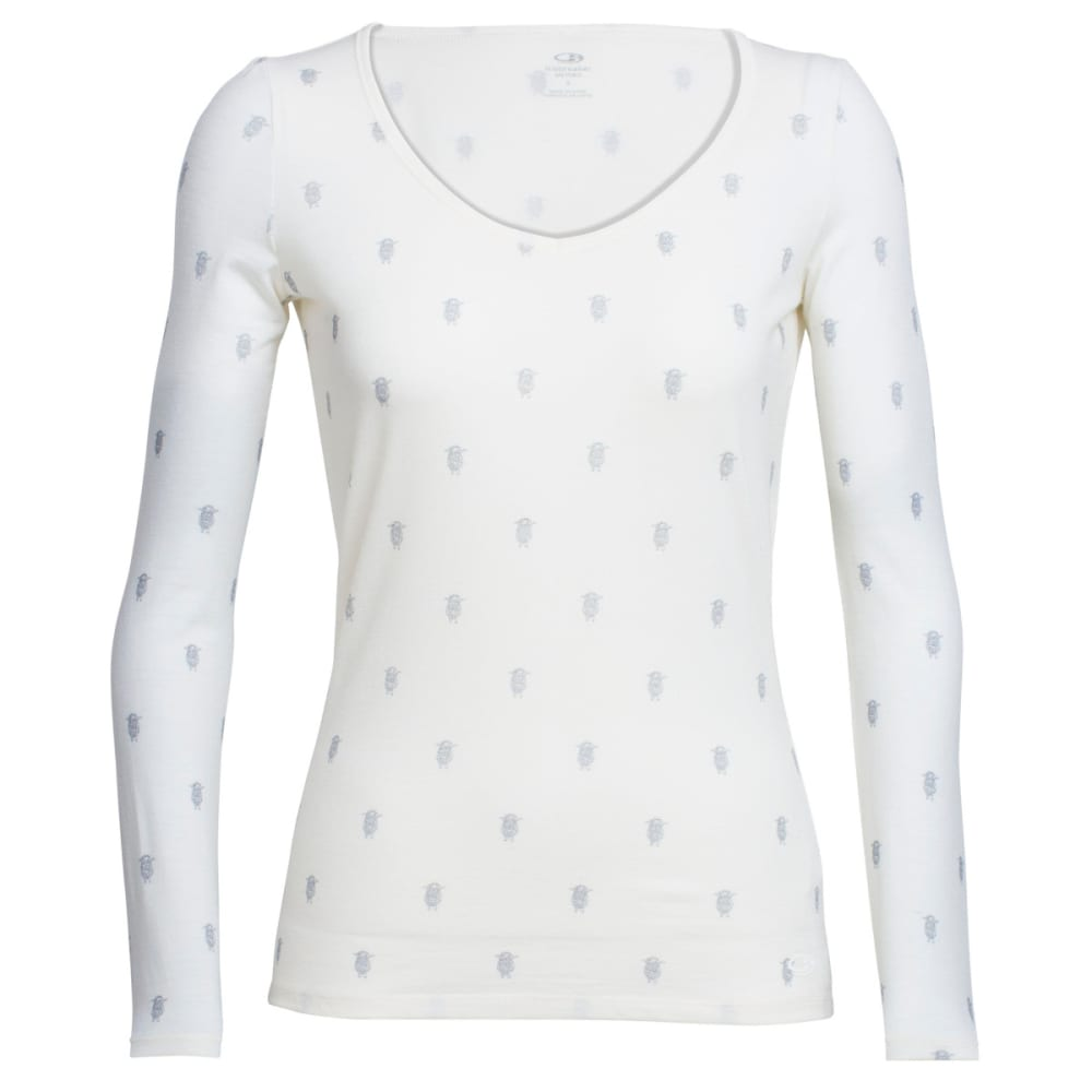 ICEBREAKER Women's Siren Long-Sleeve Sweetheart Arena - SNOW/BLACK/SNOW
