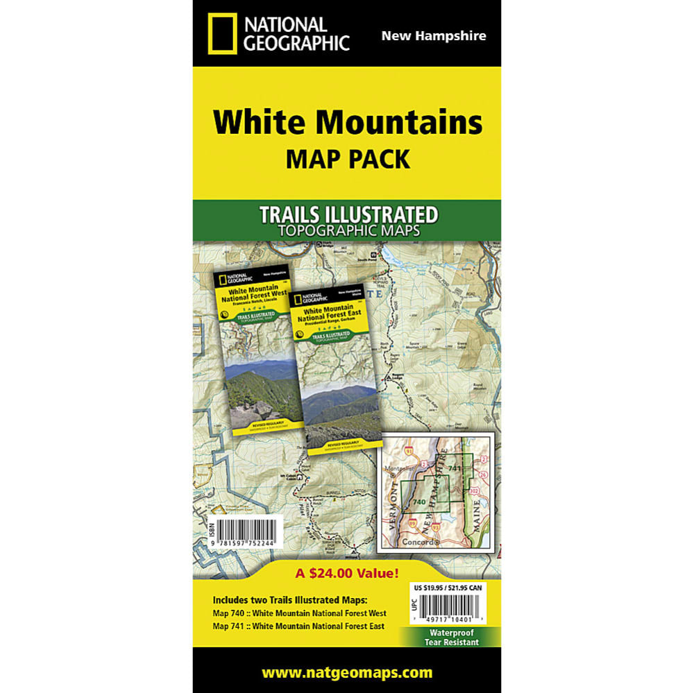 NATIONAL GEOGRAPHIC White Mountains Map Bundle Eastern Mountain - Us map no color