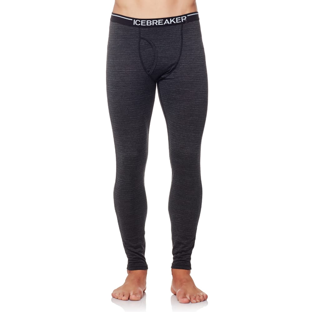 ICEBREAKER Men's Oasis Leggings with fly, Toothstripe - BLACK/JET HTHR/BLACK