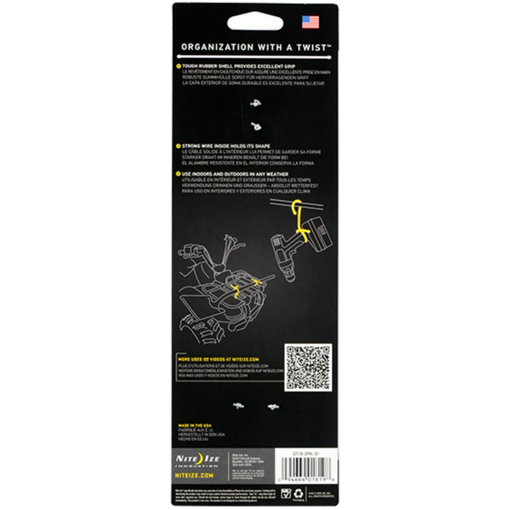 NITE IZE 18 in. Gear Tie Reusable Rubber Twist Tie, 2 Pack - BLACK