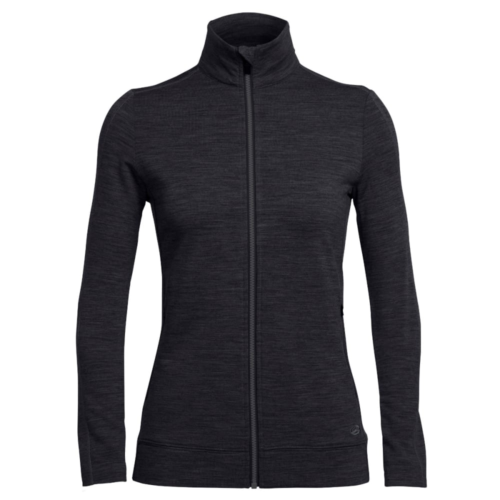 ICEBREAKER Women's Dia Long Sleeve Zip - BLACK/BLACK/BLACK