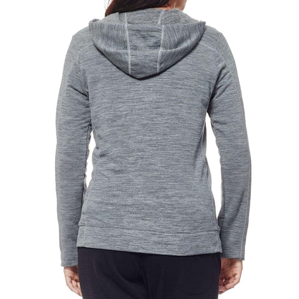 ICEBREAKER Women's Dia Long Sleeve Zip Hood - GRITSTONE/SNOW/GRTST