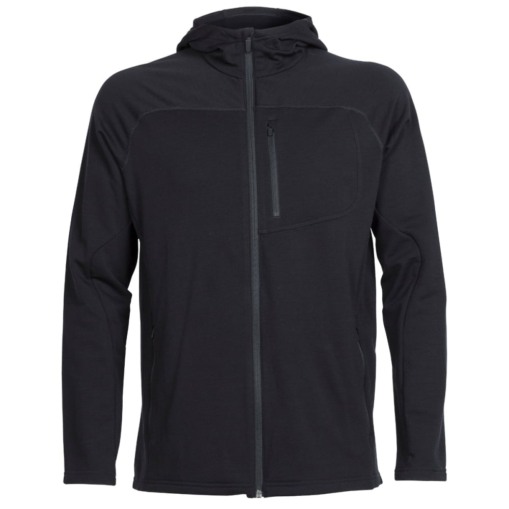 ICEBREAKER Men's Mt. Elliot Long Sleeve Hood - BLACK/BLACK/BLACK