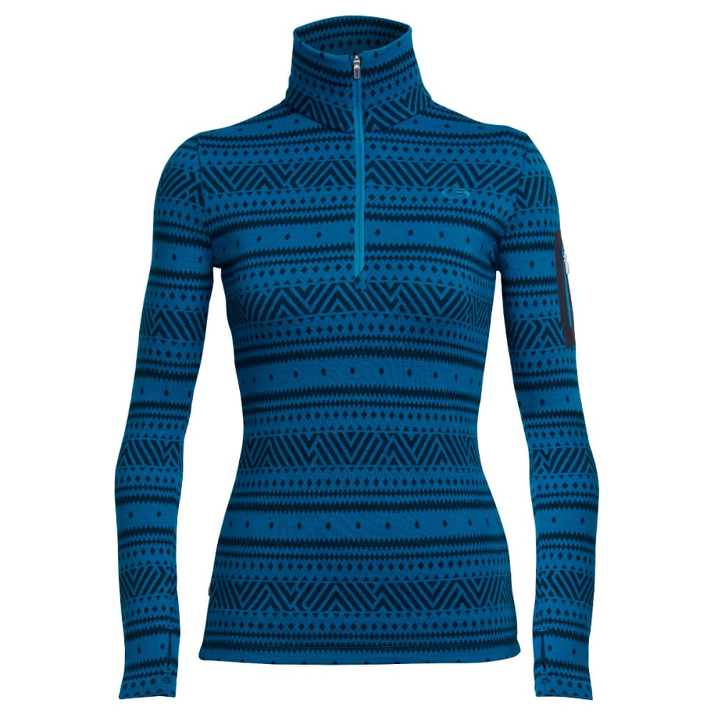 ICEBREAKER Women's Vertex Long Sleeve Half Zip, Icon Fairisle - ALPINE/JET H/ALPINE