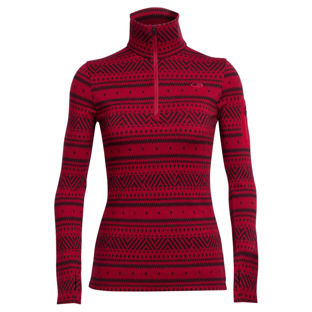 ICEBREAKER Women's Vertex Long-Sleeve Half Zip, Icon Fairisle - OXBLOOD/JET H/OXBLOO