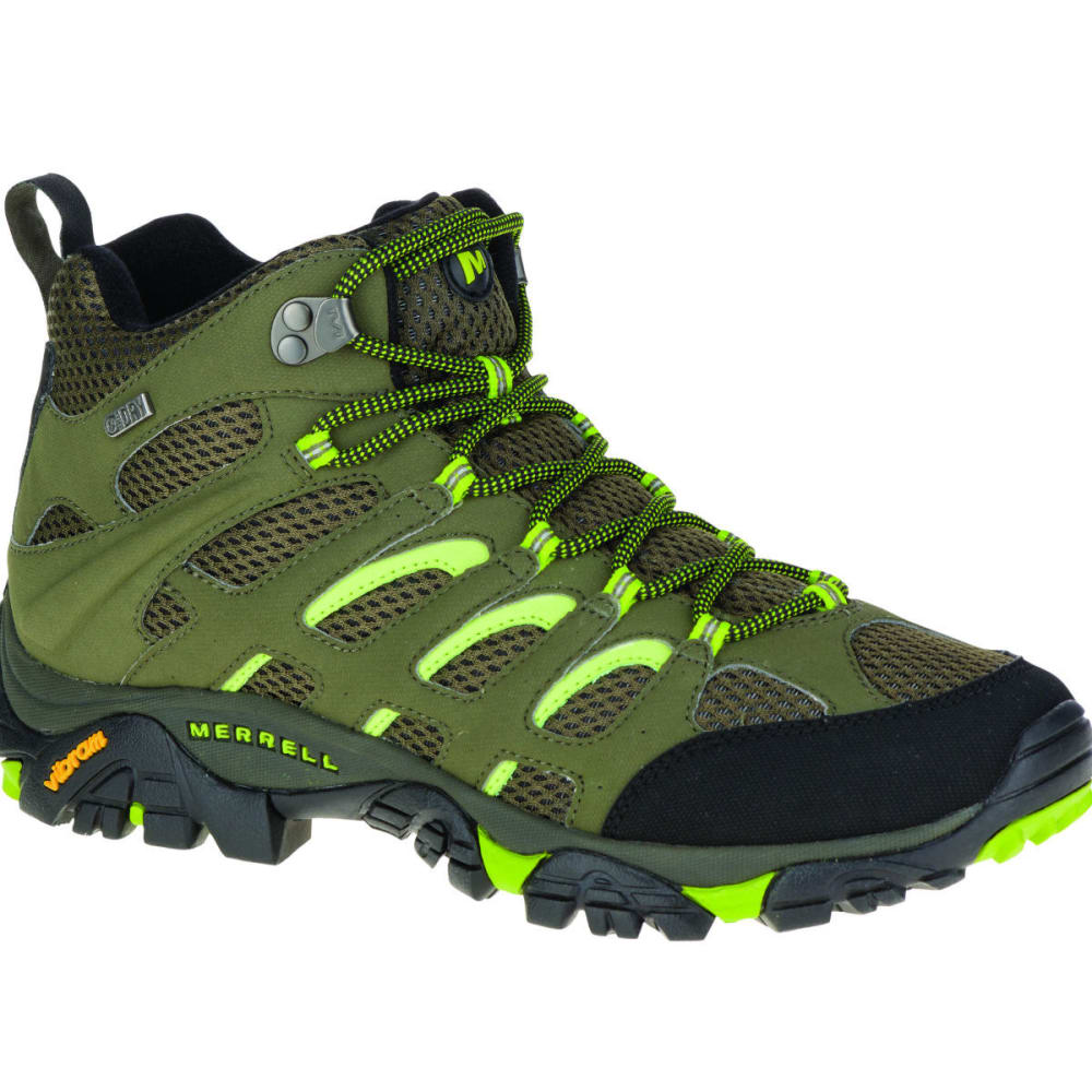 MERRELL Men's Moab Mid Waterproof Hiking Shoe, Dusty Olive/Black - DUSTY OLIVE/BLACK