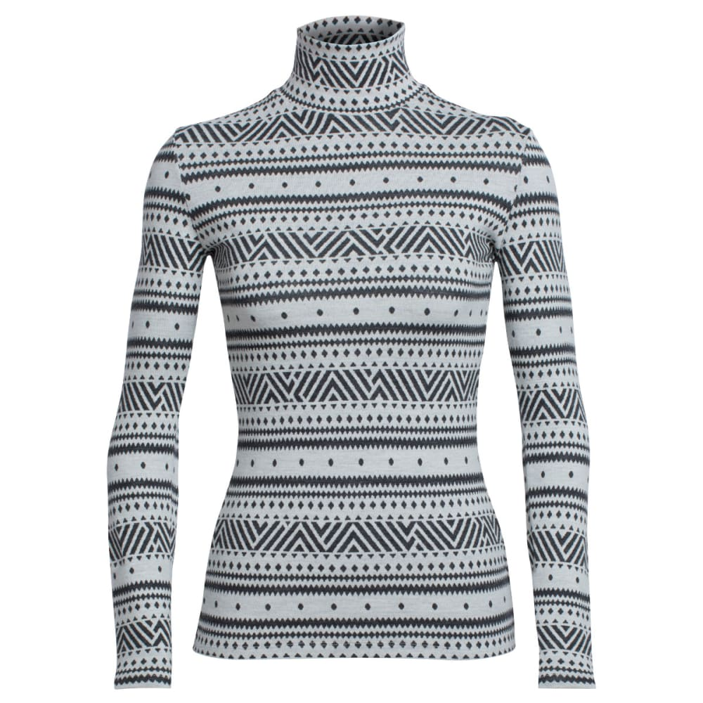 ICEBREAKER Vertex Long-Sleeve Turtleneck, Icon Fairisle - SNOW/JET HTHR/SNOW