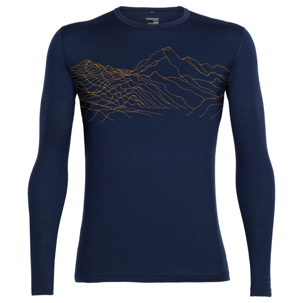 ICEBREAKER Men's Oasis Long Sleeve Crewe, Topochartic - ADMIRAL/BOLT