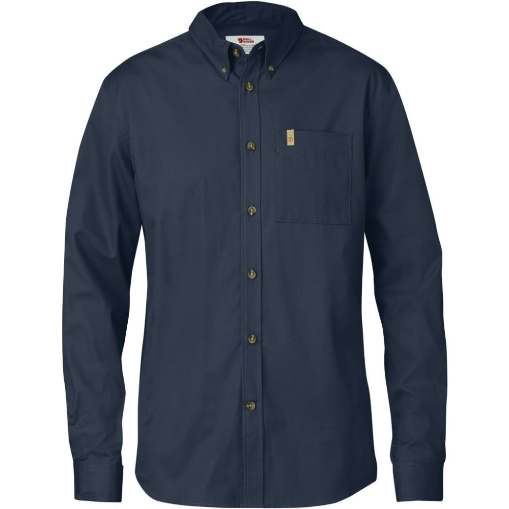 FJALLRAVEN Men's Ovik Solid Twill Long-Sleeve Shirt - DARK NAVY