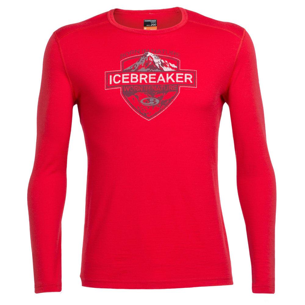 ICEBREAKER Oasis Long Sleeve Crewe, Alpine Crest - ROCKET/REDWOOD