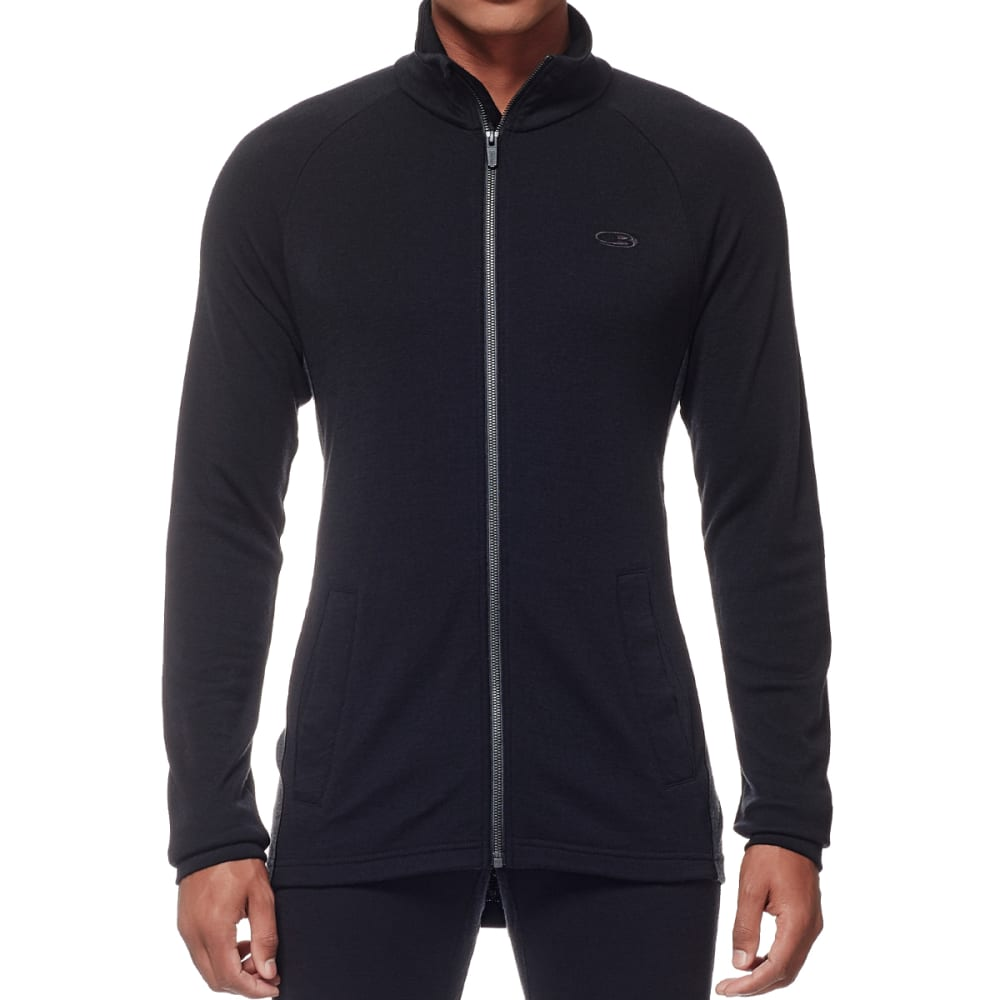 ICEBREAKER Men's Otago Long Sleeve Zip - BLACK/JET HTHR/BLK