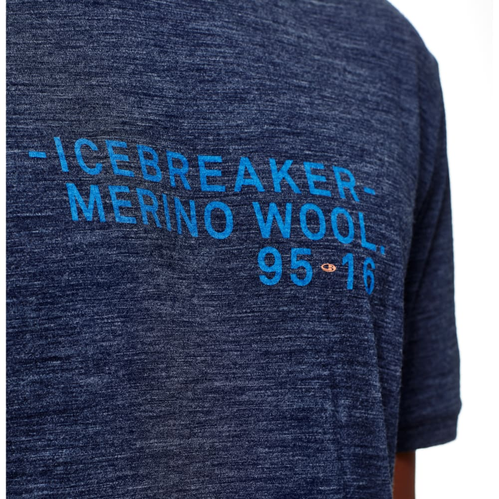 ICEBREAKER Men's Tech Lite Short-Sleeve  Crewe 95-16 - FATHOM HTHR/PELORUS