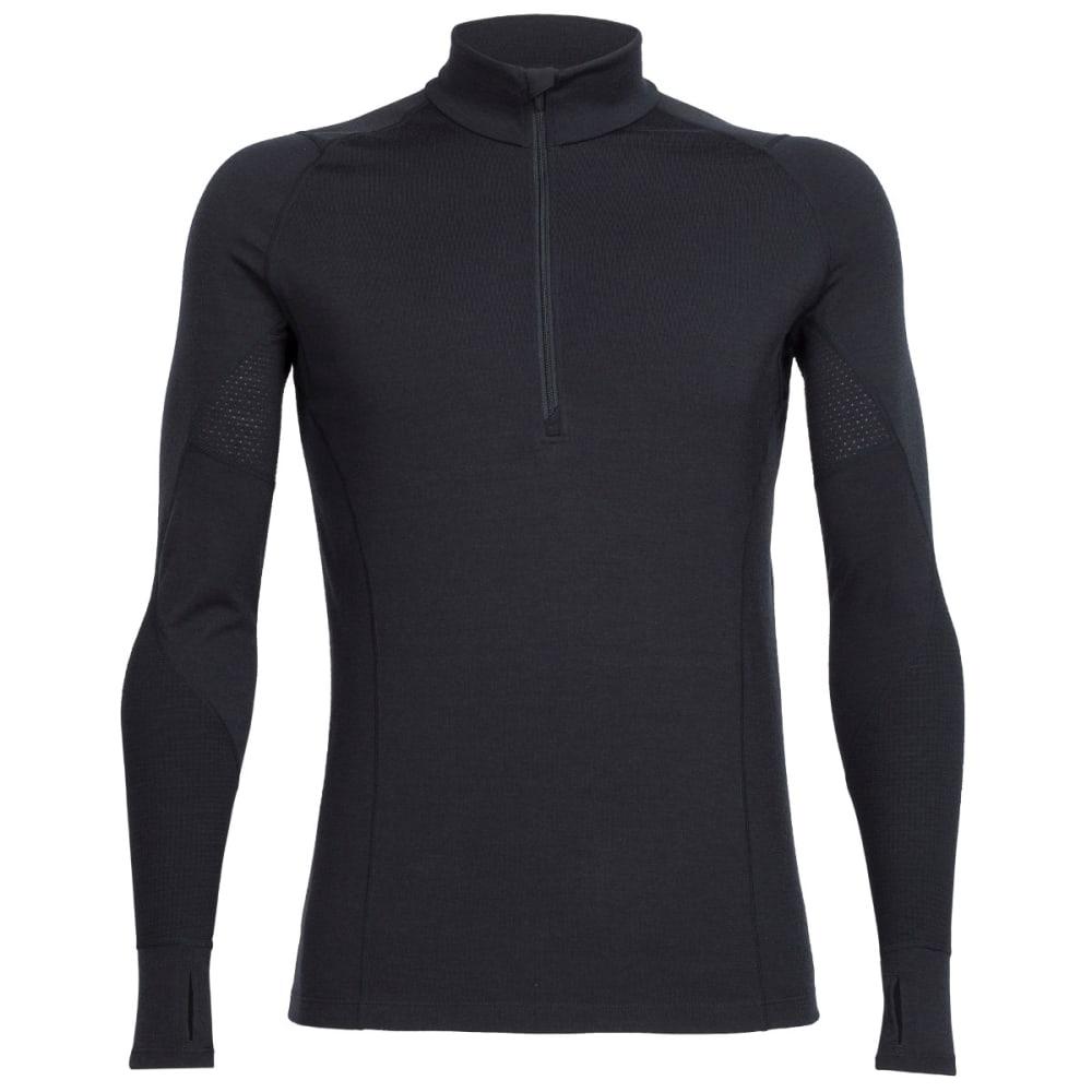 ICEBREAKER Men's BodyfitZONE Winter Zone Long-Sleeve 1/2 Zip - BLACK/BLACK/BLACK