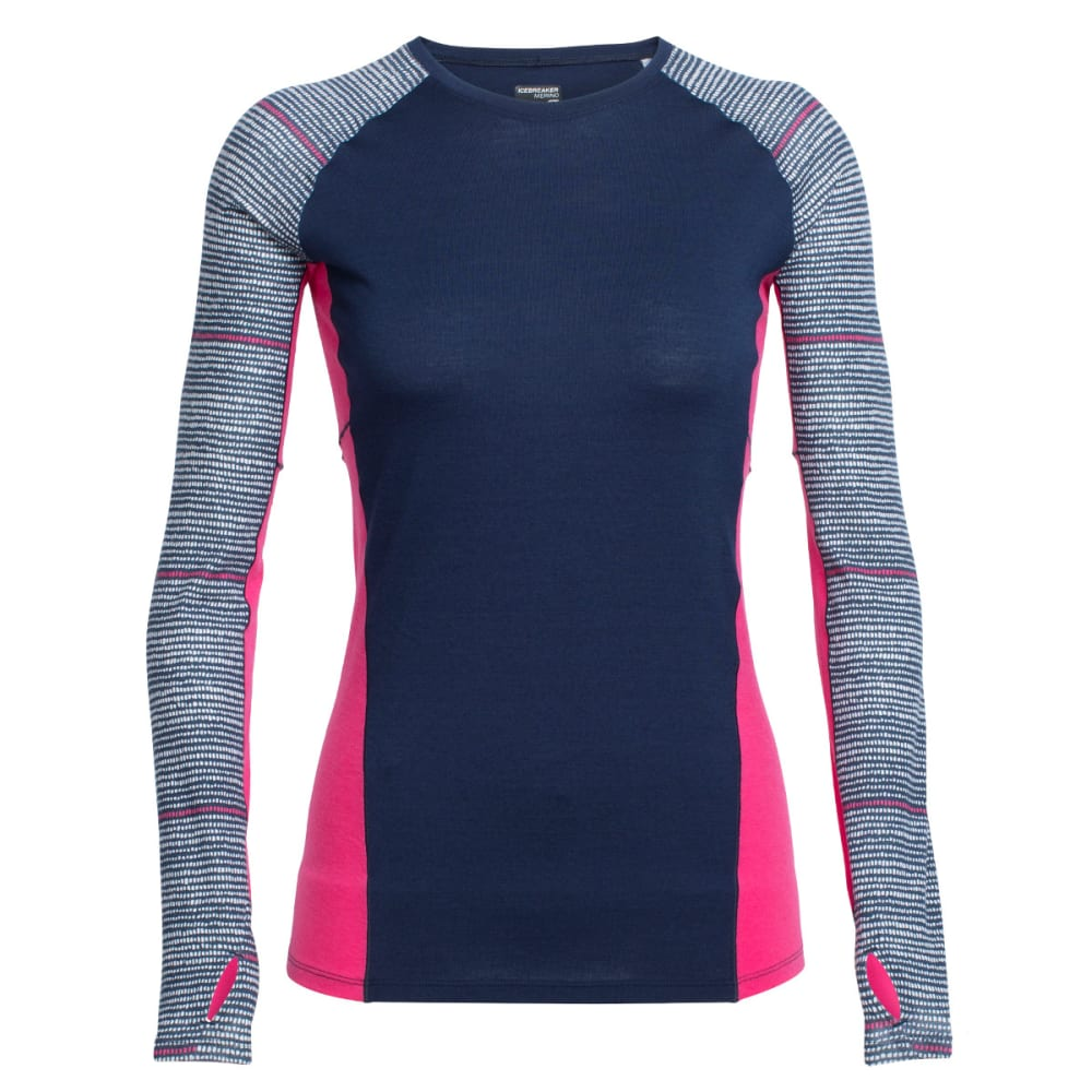 ICEBREAKER Women's Comet Long-Sleeve Crewe, Impulse - ADMIRAL/SNOW/PPINK
